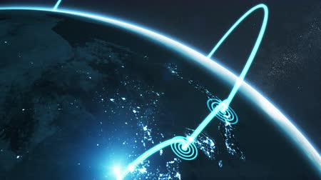 3d animation of a growing network across a realistic earth. Abstract global business network concept. Blue night version.