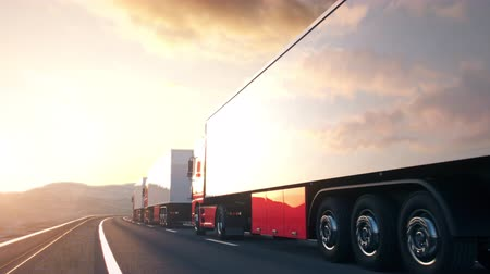POV shot overtaking a convoy of semi trucks driving on a highway into the sunset. Realistic high quality 3d animation.