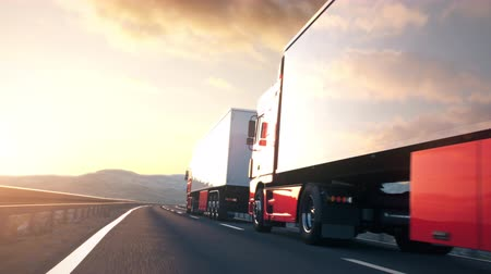 POV shot overtaking a convoy of semi trucks driving on a highway into the sunset. Fast and dynamic camera. Realistic high quality 3d animation. Stock Footage