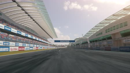 POV shot of a race car driving along the homestretch over the finish line - realistic high quality 3d animation - my own car design - no copyrighttrademark infringement