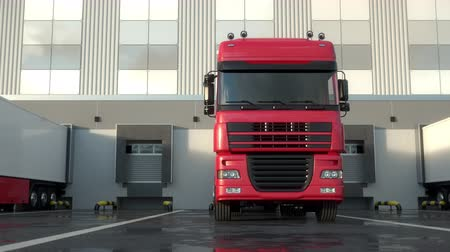 Red semi trucks loading and unloading goods at warehouse dock. Parallel front view tracking shot. Seamless loop. Realistic high quality 3d animation.