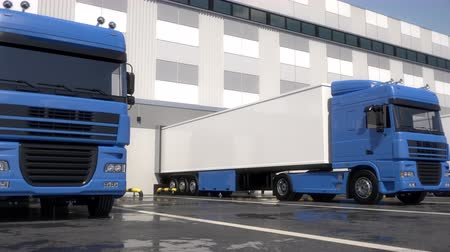 trucks : Blue semi trucks loading and unloading goods at warehouse dock. Low parallel tracking shot. Seamless loop. Realistic high quality 3d animation.