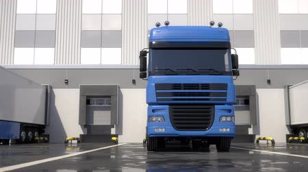 Blue semi trucks loading and unloading goods at warehouse dock. Parallel front view tracking shot. Seamless loop. Realistic high quality 3d animation.
