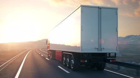államközi : Side-view camera follows a semi truck driving on a highway into the sunset. Realistic high quality 3d animation.