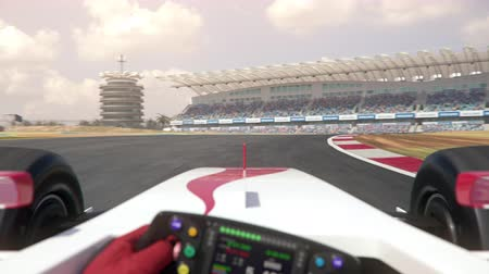 POV shot of a generic race car driving along the race track - center view - realistic high quality 3d animation - my own car design - no copyrighttrademark infringement 影像素材