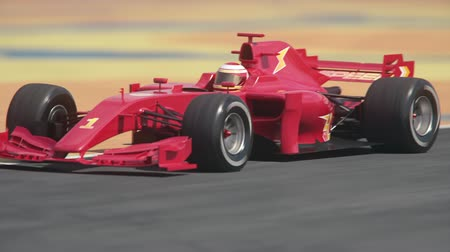 Generic formula race car driving through hairpin curve %u2013 red flash version - realistic high quality 3d animation - my own car design - no copyrighttrademark infringement Dostupné videozáznamy