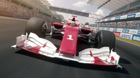 Generic formula  race car driving along the homestretch over the finish line - tilted front view camera - realistic high quality 3d animation - my own car design - no copyrighttrademark infringement