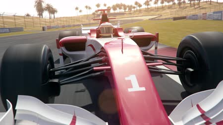 собственность : Generic formula  race car drives along the race track - dynamic front view camera south stretch - realistic high quality 3d animation - my own car design - no copyrighttrademark infringement