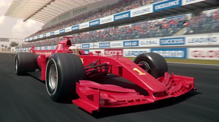 arquibancadas : Generic formula  race car driving along the homestretch over the finish line - semi front view camera - realistic high quality 3d animation Vídeos
