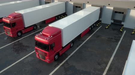 Red semi trucks docking onto warehouse dock to load or unload goods. High parallel tracking shot. Seamless loop. Realistic high quality 3d animation.