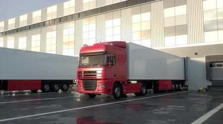 Red semi trucks leaving from warehouse dock after loading or unloading goods. Low parallel tracking shot. Seamless loop. Realistic high quality 3d animation.