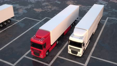 Moving aerial view of semi-trailer trucks standing in a row on a parking lot. Seamless loop. Realistic high quality 3d animation.