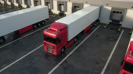 Red semi trucks leaving from warehouse dock after loading or unloading goods. High parallel tracking shot. Seamless loop. Realistic high quality 3d animation.