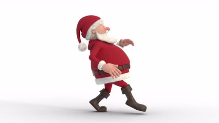Seamless looping animation of a cartoon Santa Claus sneaking on a white background. Side view. High quality 3d animation