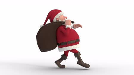 Seamless looping animation of a cartoon Santa Claus with gifts in bag sneaking on a white background. Side view. High quality 3d animation
