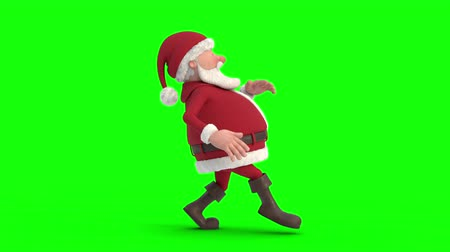 Seamless looping animation of a cartoon Santa Claus sneaking on a green background. Side view. High quality 3d animation. Green-screen version