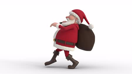 çuval : Seamless looping animation of a cartoon Santa Claus with gifts in bag sneaking on a white background. Side view. High quality 3d animation
