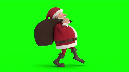 Seamless looping animation of a cartoon Santa Claus with gifts in bag sneaking on a green background. Side view right. High quality 3d animation. Green-screen version
