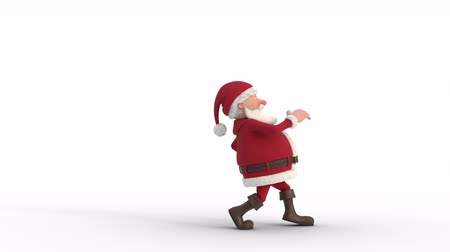 Seamless looping animation of a cartoon Santa Claus sneaking across a white background. Side view. High quality 3d animation