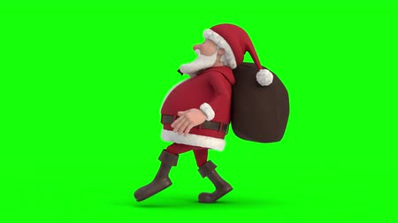 Seamless looping animation of a cartoon Santa Claus with gifts in bag sneaking on a green background. Side view left. High quality 3d animation. Green-screen version