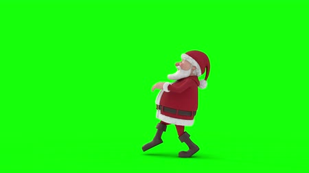 Seamless looping animation of a cartoon Santa Claus sneaking across a green background. Side view. High quality 3d animation. Green-screen version Vídeos