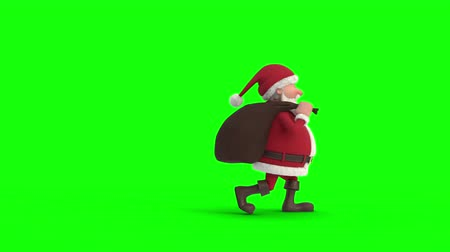 Seamless looping animation of a cartoon Santa Claus with gift bag sneaking across a green background. Side view. High quality 3d animation. Green-screen version