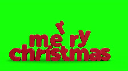 Animated Christmas Greeting Card with cartoon Santa Claus sneaking across screen and snapping his fingers to reveal Merry Christmas in big 3d letters. Green-screen version. High quality 3d animation