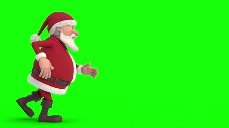 Animated Christmas Greeting Card with cartoon Santa Claus sneaking across the screen and snapping his fingers. Copy space in the middle. Room for your on text. Green screen version Vídeos