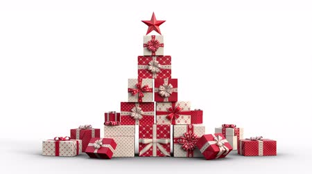 Zoom out of Christmas gift boxes popping up and forming a stack of presents in an abstract christmas tree shape with star on top. Red version. Animated Christmas Greeting Card. White background. Vídeos