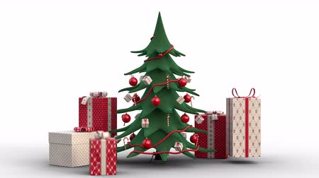 Zoom out of a stylized growing christmas tree decorated in red and gift boxes popping up around it. Animated Christmas Greeting Card. White background. High quality 3d animation