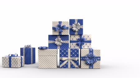 Zoom out of Christmas gift boxes popping up and forming a stack of presents in an abstract christmas tree shape with star on top. Blue version. Animated Christmas Greeting Card. White background. Vídeos