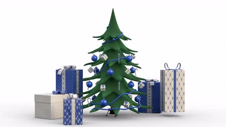 Zoom out of a stylized growing christmas tree decorated in blue and gift boxes popping up around it. Animated Christmas Greeting Card. White background. High quality 3d animation