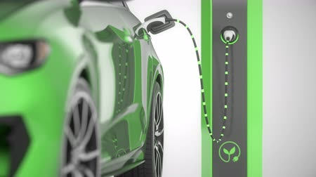 Closeup of a green modern electric self driving car charging in charging station. Focus shift to charging plug. Alternative energy and ecology concept. Realistic high quality 3d animation.