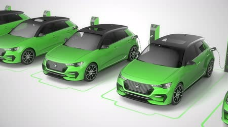 Trucking shot from above of a row of green modern electric self driving cars charging. Seamless loop. 4K. White background. Alternative energy and ecology concept. Realistic high quality 3d animation. Stock Footage