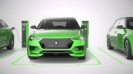 Seamless looping row of green modern electric self driving cars charging. Front view pan. White background. Alternative energy and ecology concept. Realistic high quality 3d animation. Stock Footage