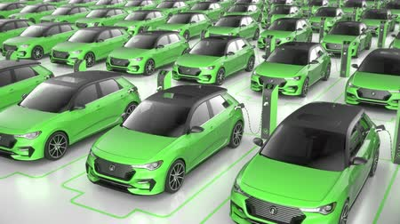 Top view of green electric self driving car charging at charging station on white background. Alternative energy and ecology concept. Realistic high quality 3d animation.