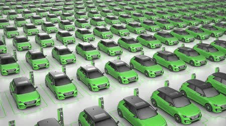 Top view of endless green electric self driving car charging at charging station on white background. Alternative energy and ecology concept. Realistic high quality 3d animation.