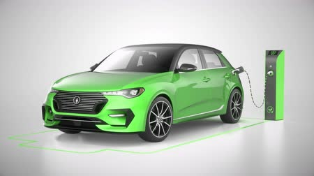 Green modern electric self driving car charging in charging station on white background. Battery graphic shows progress. Alternative energy and ecology concept. Realistic high quality 3d animation. 影像素材