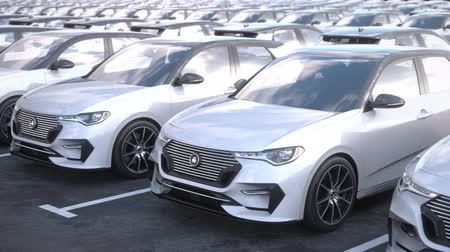 Tracking shot along rows of generic electric self driving cars on car on big storage parking lot. Seamless loop. Realistic high quality 3d animation.