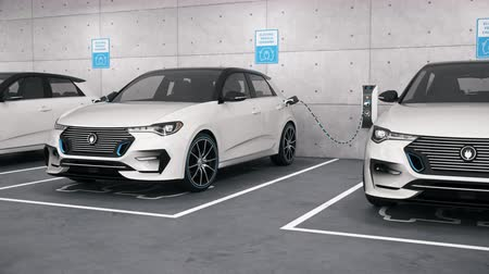 Electric self driving cars connected to charging stations in park garage. Renewable energy and ecological transportation concept. Seamless looping realistic high quality 3d animation.