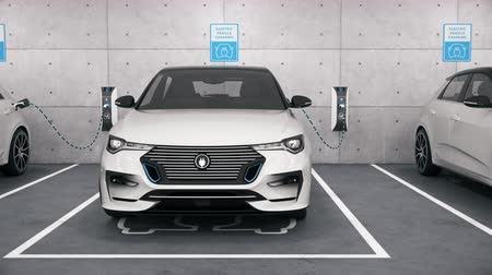 Electric self driving cars connected to charging stations in park garage. Renewable energy and ecological transportation concept. Seamless looping realistic high quality 3d animation. Front view
