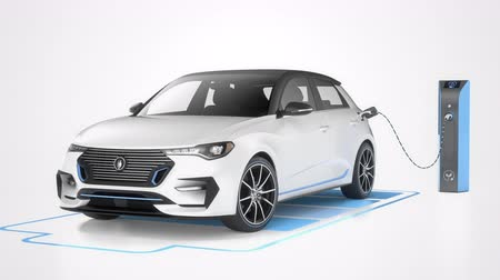 Modern electric self driving car charging in charging station on white background. Battery graphic shows charging progress. Alternative energy and ecology concept. Realistic high quality 3d animation.