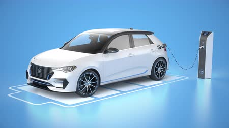 Modern electric self driving car charging in charging station on blue background. Battery graphic shows charging progress. Alternative energy and ecology concept. Realistic high quality 3d animation.