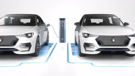 Seamless looping row of white modern electric self driving cars charging on white background. Seamless looping. Alternative energy and ecology concept. Realistic high quality 3d animation.
