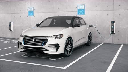 Camera moves around a modern electric self driving car connected to charging station in park garage. Renewable energy and ecological transportation concept. Realistic high quality 3d animation Vídeos