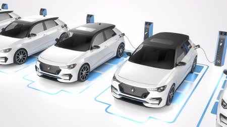 Seamless looping row of white generic electric self driving cars charging on white background. Seamless looping. Alternative energy and ecology concept. Realistic high quality 3d animation.