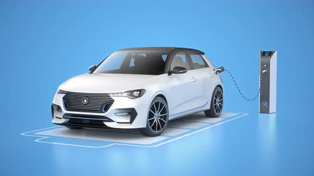 Generic electric self driving car charging in charging station on blue background. Battery graphic shows charging progress. Alternative energy and ecology concept. Realistic high quality 3d animation.