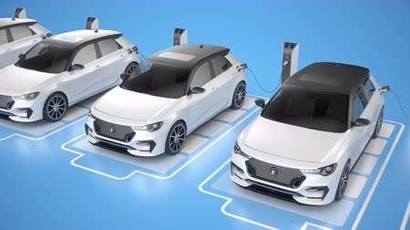 Row of white generic electric self driving cars charging on blue background. Seamless looping front view. Alternative energy and ecology concept. Realistic high quality 3d animation.
