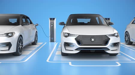Row of white generic electric self driving cars charging on blue background. Seamless looping top view. Alternative energy and ecology concept. Realistic high quality 3d animation.