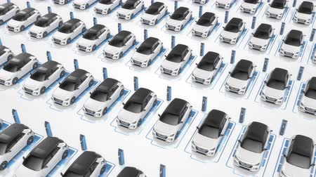 Top view of white electric self driving cars charging with blue battery graphic showing the process. Alternative energy and ecology concept. Seamless looping realistic high quality 3d animation.